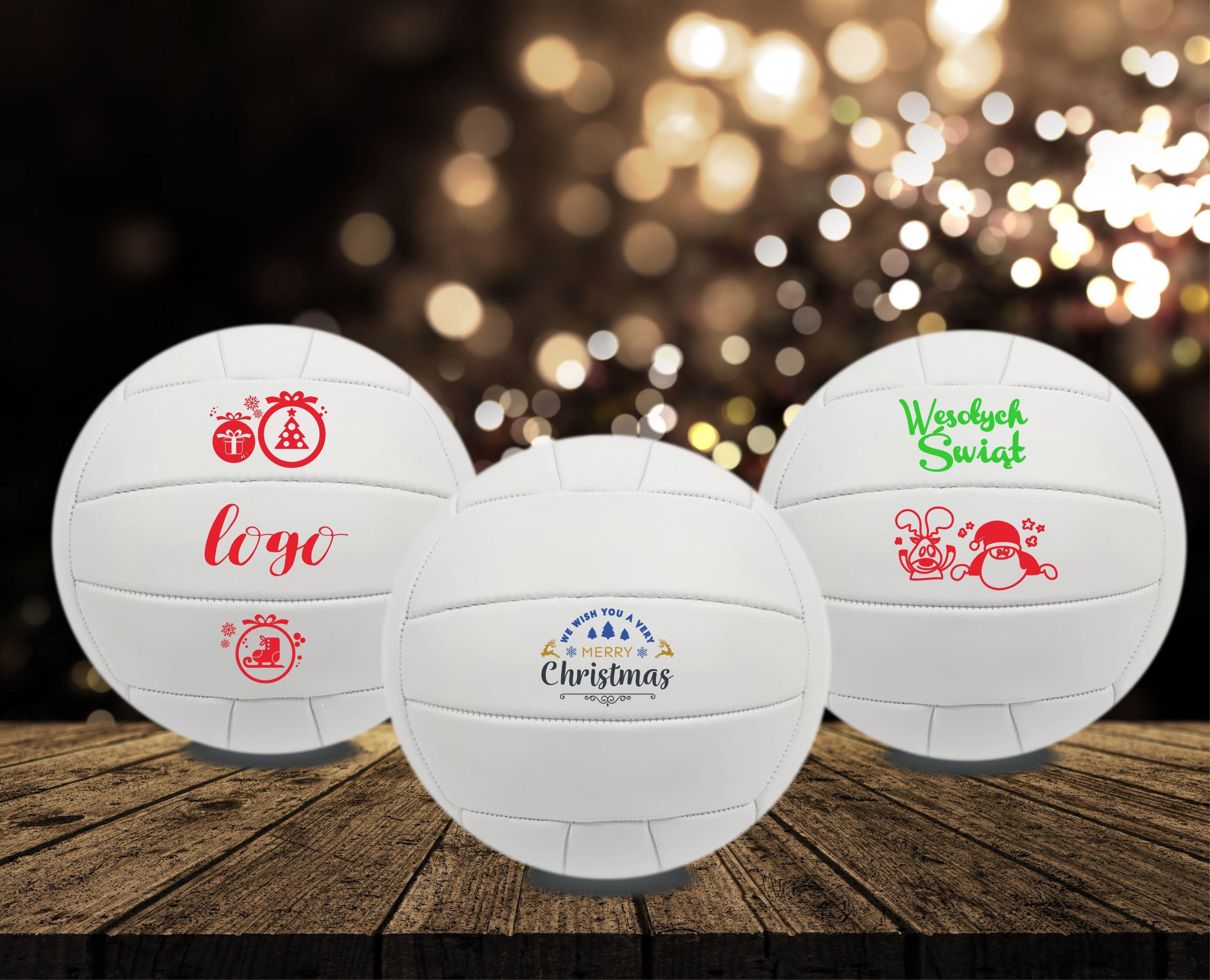 Piłki świąteczne, biała piłka z logo, upominek sportowy