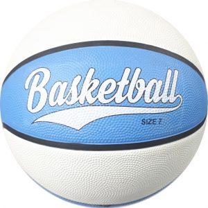 Niebiesko biała piłka do kosza z logiem, profesjonalne piłki koszowe z nadrukiem, Twoje logo na piłce do kosza, jak wykonać nadruk na koszykówce
